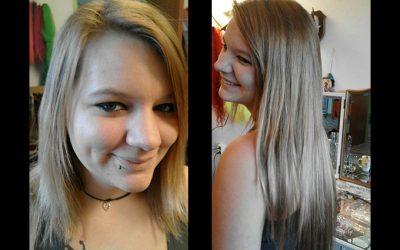 Peloco: Verlängerung und Verdichtung der eigenen Haare mit naturblondem Kunsthaar (Bild rechts)