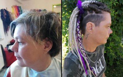 Peloco: Was für eine tolle Typveränderung: meine Kundin wollte immer schon Dreads. Sie wählte eine tolle Farbkombi in blond und lila. Hier wurde mit synthetischen Haar verlängert, welche die Leuchtkraft nie verliert /verändert.