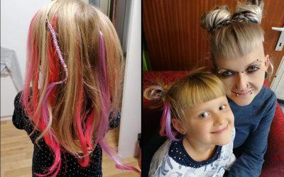 Peloco: Wenn die Mama schöne Haare hat, möchte natürlich die kleine Maus auch schöne Haare 🥰 Das schönste Trinkgeld (für mich) ist, das Strahlen der Augen und der riiiiiiiiiesige Grinser der Kinder. Und dieser war riesengroß mit den neuen Extensions in pink und rosa und den frisch geschnittenen Stirnfransen