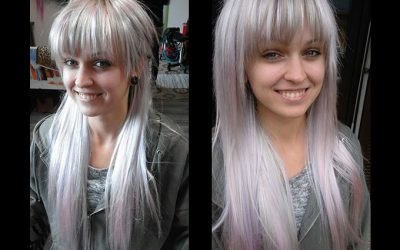 Peloco: zauberhafte, synthetische Haarverlängerung in silber & babyrosa