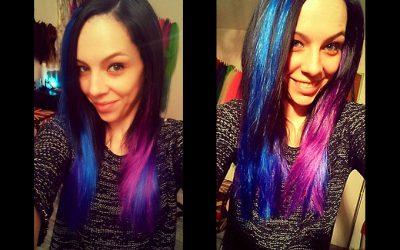 Peloco: Kunsthaarverlängerung und -verdichtung in blau-lila der frisch gefärbten Haare