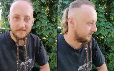 Peloco: Es wurde wieder mal ge-Bart 😉 Wir haben den Bart meines Kunden mit synthetischen Haar verlängert, gedreadet und dazu mit teuflisch schönen Perlen aus Metall verziert.