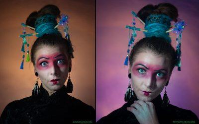 Peloco: Die Verwandlung zur Geisha ist unserer Makeup-Artistin Cindy ausgezeichnet gelungen. Ihre Haare haben wir dafür mit synthetischen Dreads in türkis zu einem sehr hochen Dutt zusammengebunden, was zusammen mit dem außergewöhnlichen Makup das Bild perfekt abrundet. (Copyright by: Foto Frank)